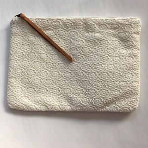 NWT lace clutch/zippered pouch w/leather pull
